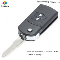 KEYECU Replacement Folding Remote Car Key 2 Buttons & 433MHz & 4D63 Chip FOB for Mazda 2 3 5 6 MX5 RX8 P/N: SKE126 01 126 A1