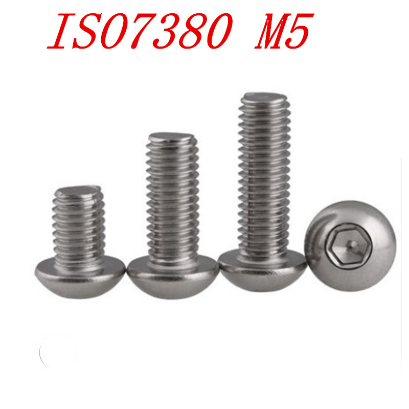 30 Pcs Stainless Steel M5*8mm Round Head Phillips Screws Male Thread M5 8mm