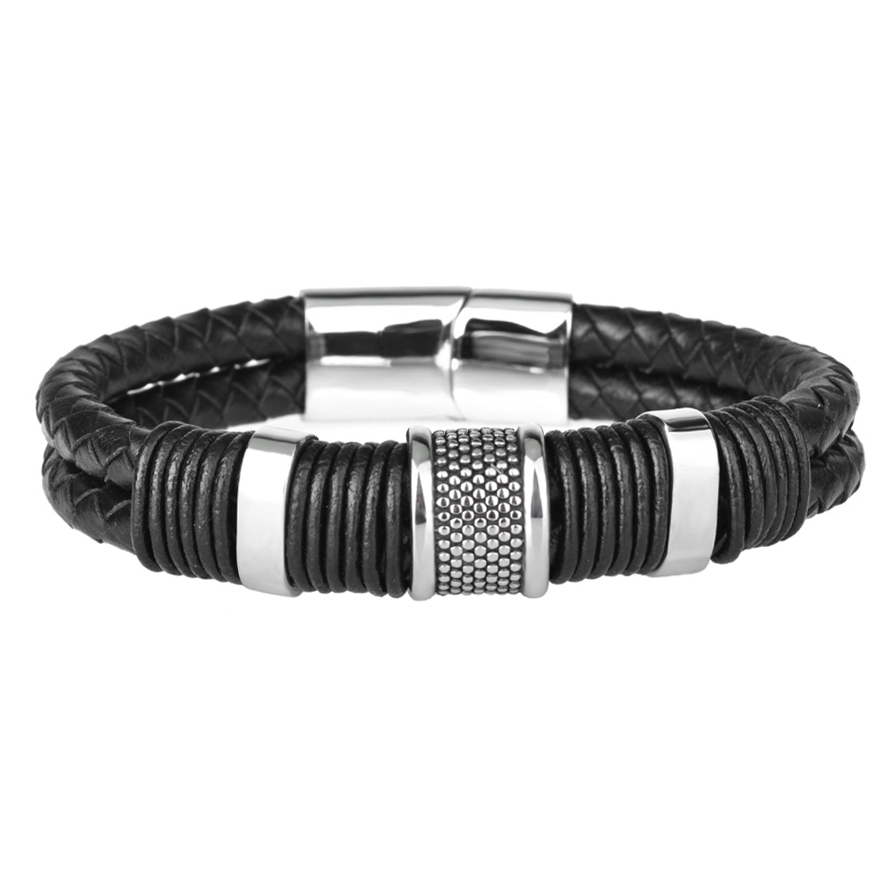 Kirykle nouvelle mode noir tresse Bracelet en cuir tissé titane Bracelet en acier inoxydable hommes Bracelet hommes bijoux cadeau Vintage