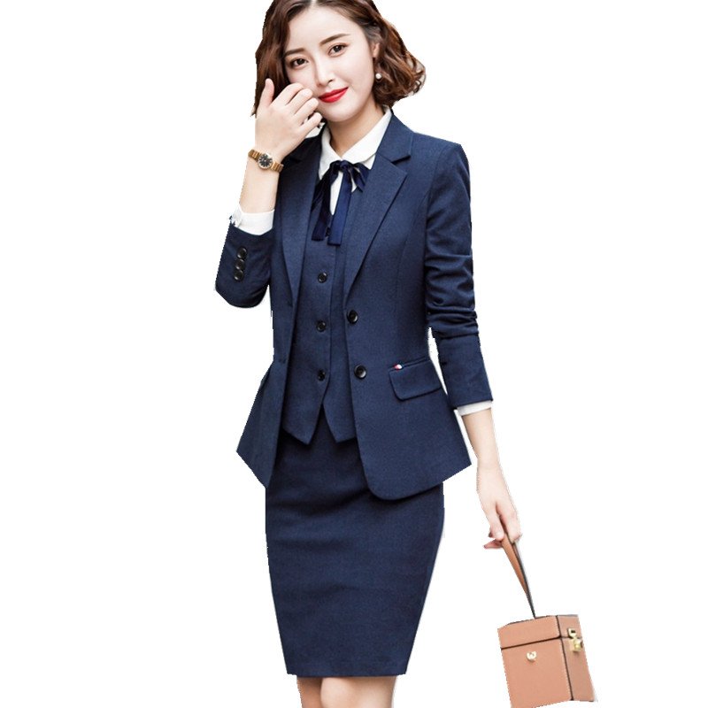 Blazer And Skirt Set With Pockets Elegant Slim Fit Blazer+Skirt 2 Pieces Formal Career Skirt Suits Office Clothes 889820