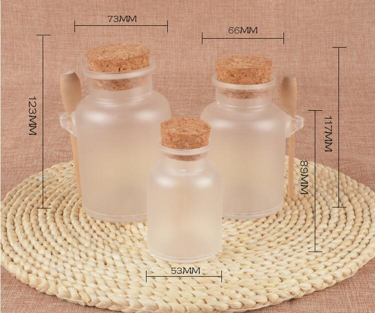 Free Shipping 100ml 200ml 300ml Frosted Plastic Empty Bottle With Wood Lid Bath Salt Smalls Powder