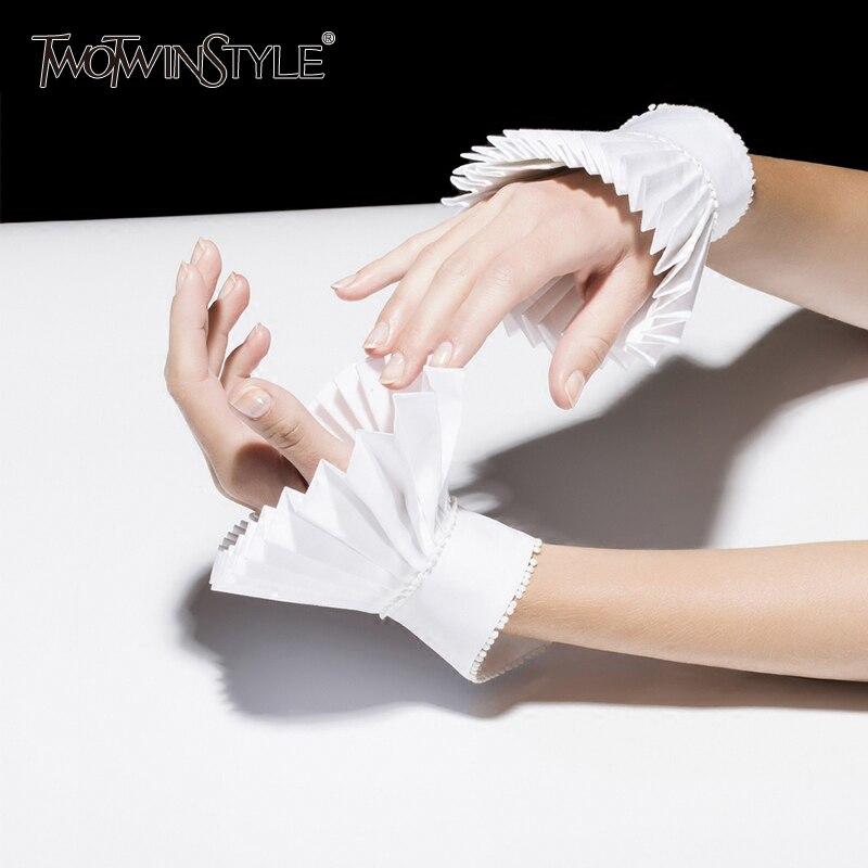 GALCAUR Pleated Raglan Sleeves With Gloves Women Ruffles White Cuffs Spring Summer 2020 Female Vintage Fashion Accessories