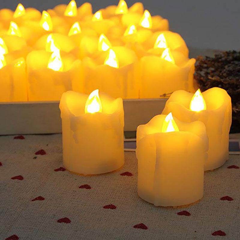 12ks bezplamenné svíčky s časovačem / elektrická jantarová žlutá svíčka LED čajové světlo do jídelny večírek / velké votivní svíčky