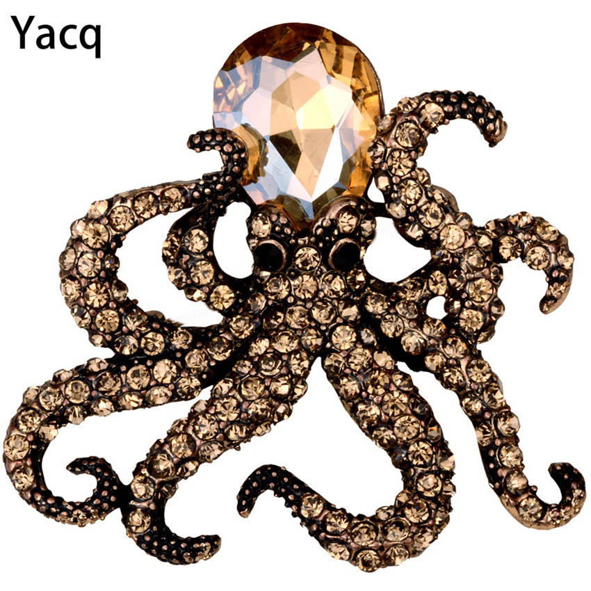 Octopus stretch ring antique gold silver color W crystal fashion scarf jewelry charm gifts
