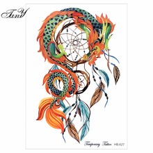 1pc Body Art Painting Dragon Dream Catcher Butterfly Feather Owl Big Women Arm Leg Waterproof Flash Dreamcatcher Fake Tattoo