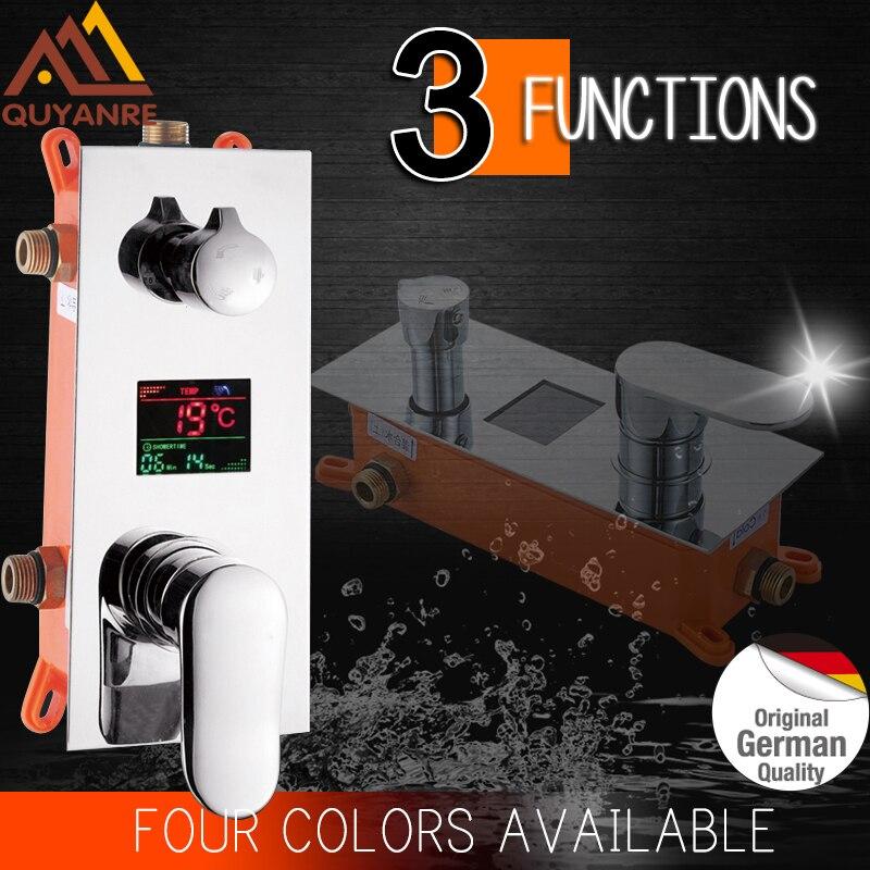 Quyanre LED affichage numérique panneau de douche mitigeur robinet LED douche 2 3 voies mitigeur affichage numérique robinet de douche accessoire
