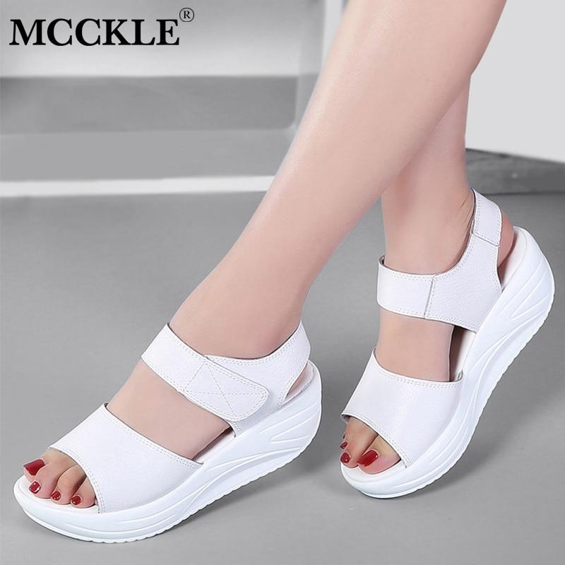 MCCKLE Women Sandals Summer Wedges Female Shoes Ladies Gladiator 2018 Hook Loop Causal Footwear For Woman Platform Walking Shoes