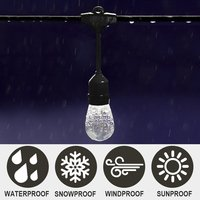Connectable Outdoor Heavy Duty 14.4m 16pcs Hanging Socket E27 Matched With High Quality Plastic S14 2W Led Bulb Chain Light