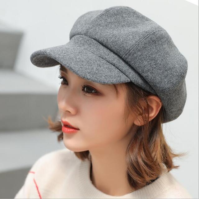 Autumn Winter Octagonal Painter Black Grey Beret Hats
