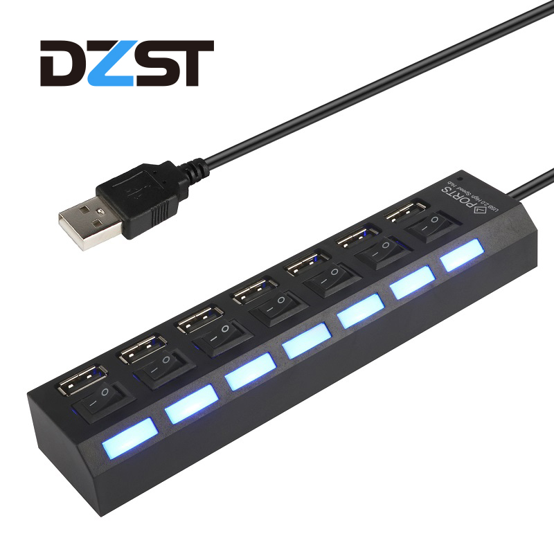 DZLST USB 2.0 Hub Splitter 7 ports High Speed Portable Hub LED USB 7 Ports Adapter On/Off Switch For Laptops PC Computer hub power new 7 ports led usb 2 0 adapter hub power on off switch for pc laptop 60315