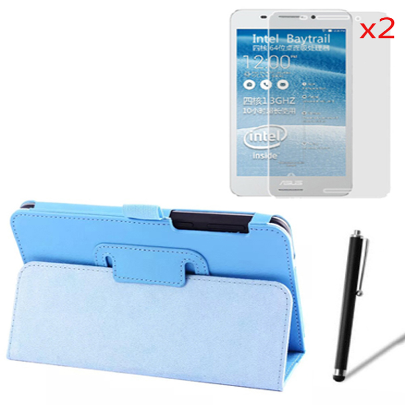 Luxury Magnetic Folio Stand Leather Case Cover +2x Screen Protector +1x Stylus For Asus Fonepad 7 FE7530CXG K019 FE375 FE375CG  new luxury folio stand leather protective case cover 1x clear screen protector for asus zenpad c 7 0 z170mg z170c z170cg 7