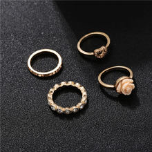 3Pcs/set Bohemian Beach Retro Gems Geometry Resin Flowers Crystal Heart Ring Set Women Girl Charm Jewelry Accessories