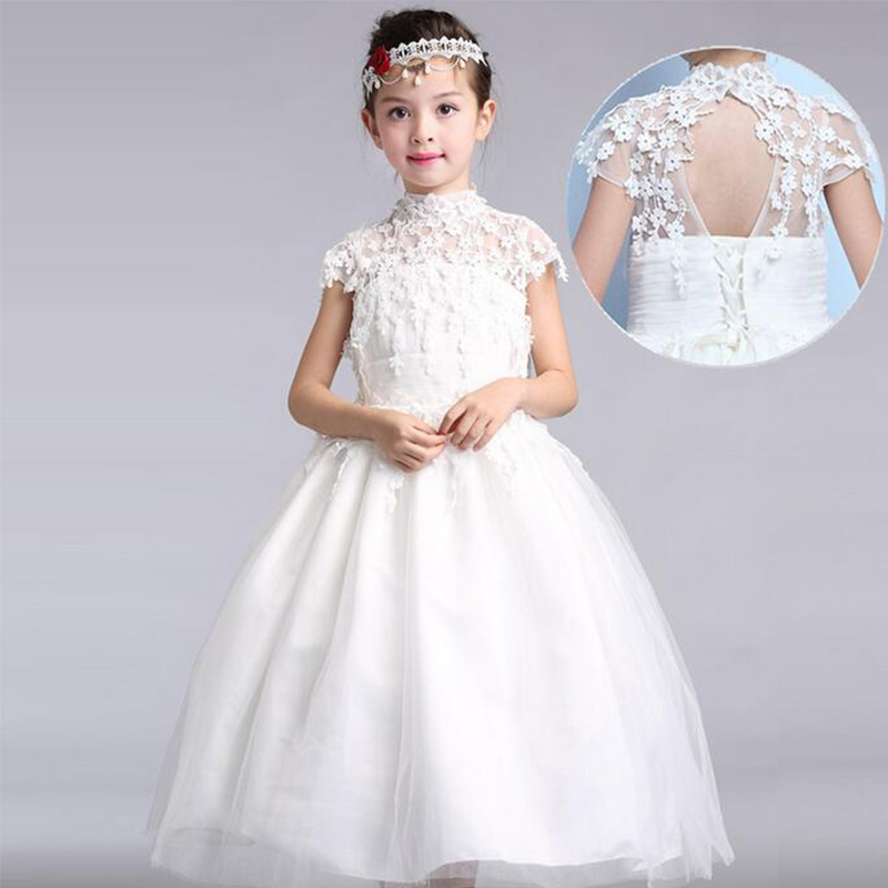New Communion Dresses Appliques Short Sleeve Ball Gown Flower Girl Dresses for Wedding Flowers Girls Dresses with high quality 4pcs new for ball uff bes m18mg noc80b s04g