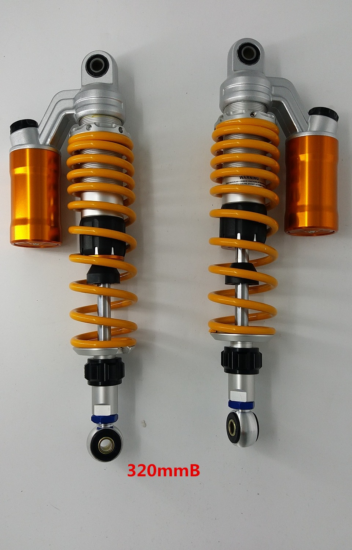 320mm 340mm 360mm 1 paire Moto réglable Air Shock Absorber Suspension Arrière 7mm Printemps Pour Scooter BWS Jaune