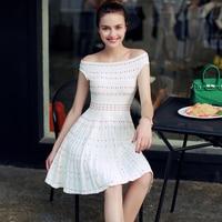 New Arrival Fashion Women Dress Vintage Summer Slash Neck Mini Dress Vestidos Office Dress Super Elastic A-line Slim Dress