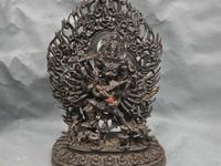 12'' China Tibet Tibetan Buddhism Tantra Yamantaka Buddha Bronze Statue