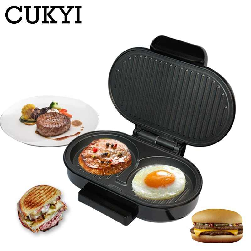 CUKYI Mini Steak Panini Hamburger Grill Meat Roaster Machine Egg Frying Pan Sandwich Maker ciabatta Bread Oven Breakfast BBQ