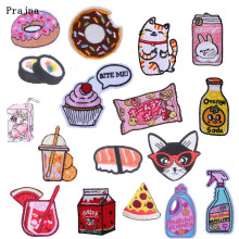Prajna Drink Cookie Patch Embroidered Iron on for Clothing Kids Applique Creative Sushi Cat Sticker Supplier Decor F