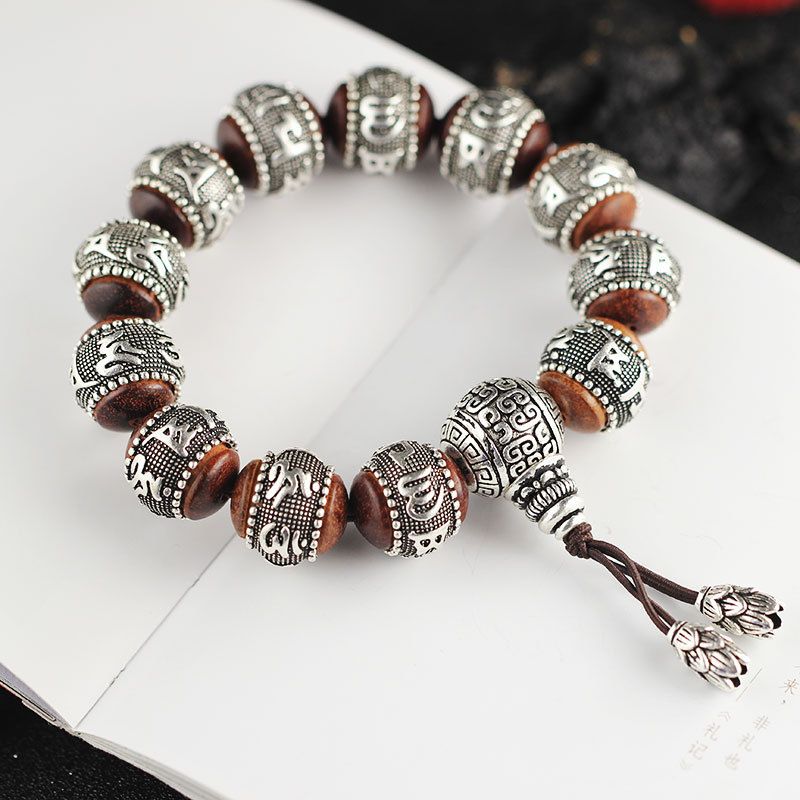Thai Silver Sandalwood Buddhist Sutra Hand Bracelet For Women&Men,Vintage Handmade Sterling Silver Bracelet Fine Jewel Gift 16mm round sandalwood thai silver beads bracelet for women buddhism six letter scripture women men fine silver 990 jewelry sb69