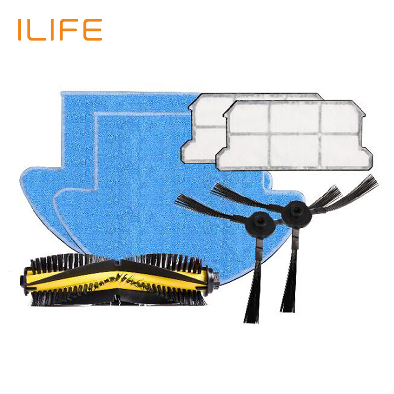 ILIFE  V7s and  V7s Pro Spare Replacement Kits with  Filter MOP Cloth Slide Brush 1pcs euro pro shark steam mop replacement microfiber pads s3250 3250 s3202 3202 s3101 3101