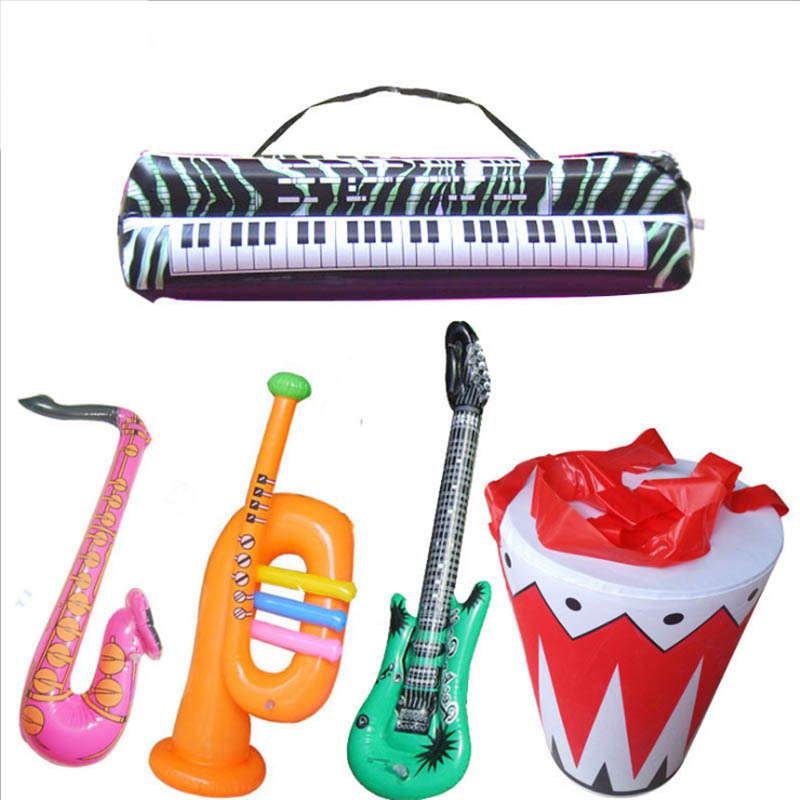 Inflatable Guitar Saxophone Piano Microphone Speaker Musical Instrument For Girs And Boys Birthday Christmas Party Kids Gifts