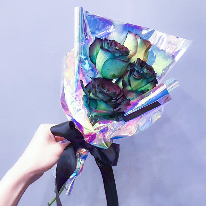 Rainbow Cellophane Flower Floral Wrapping Paper Candy Cake Cookie Packaging Craft Gift Packing Colorful Cellophane Roll