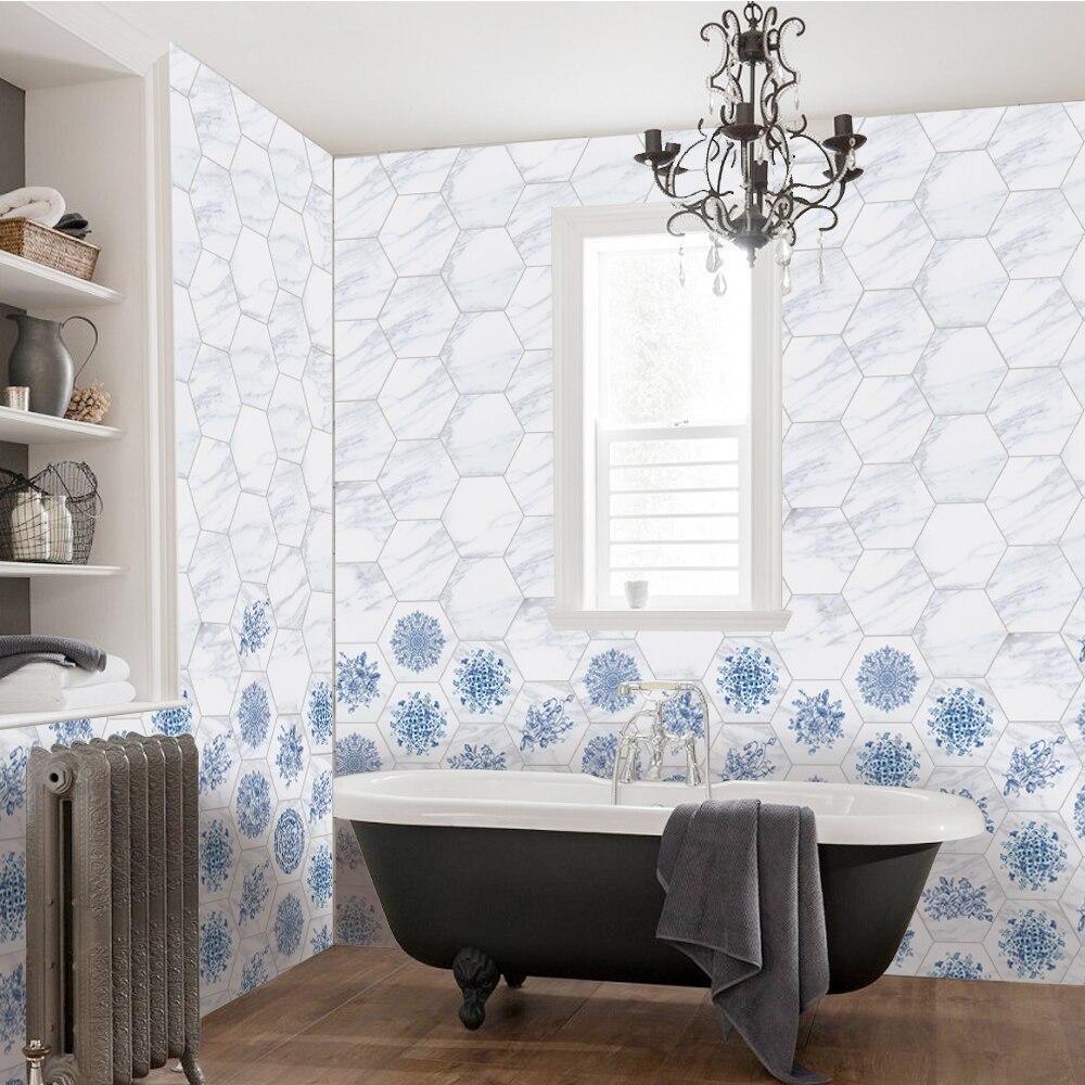 10pcs/set Tile Decal Blue Floor Stickers Bathroom Hexagon Wall ...