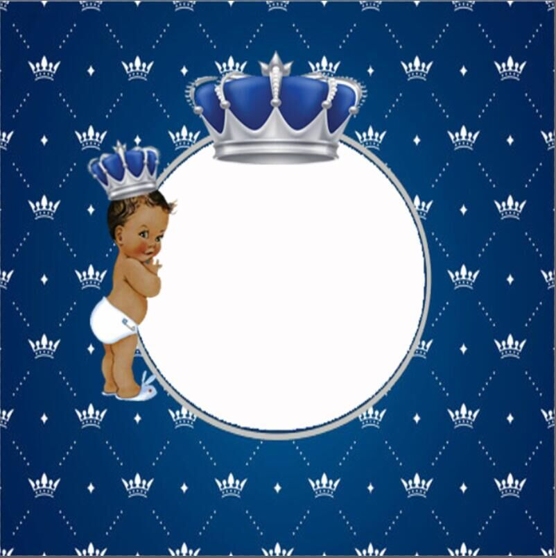8x8FT Blue Diamonds Royal Crown Boy Baby Shower Custom