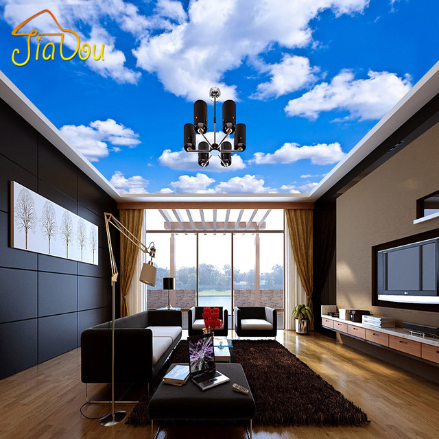 Custom Ceiling Wallpaper Blue Sky And White Clouds Murals For The ...