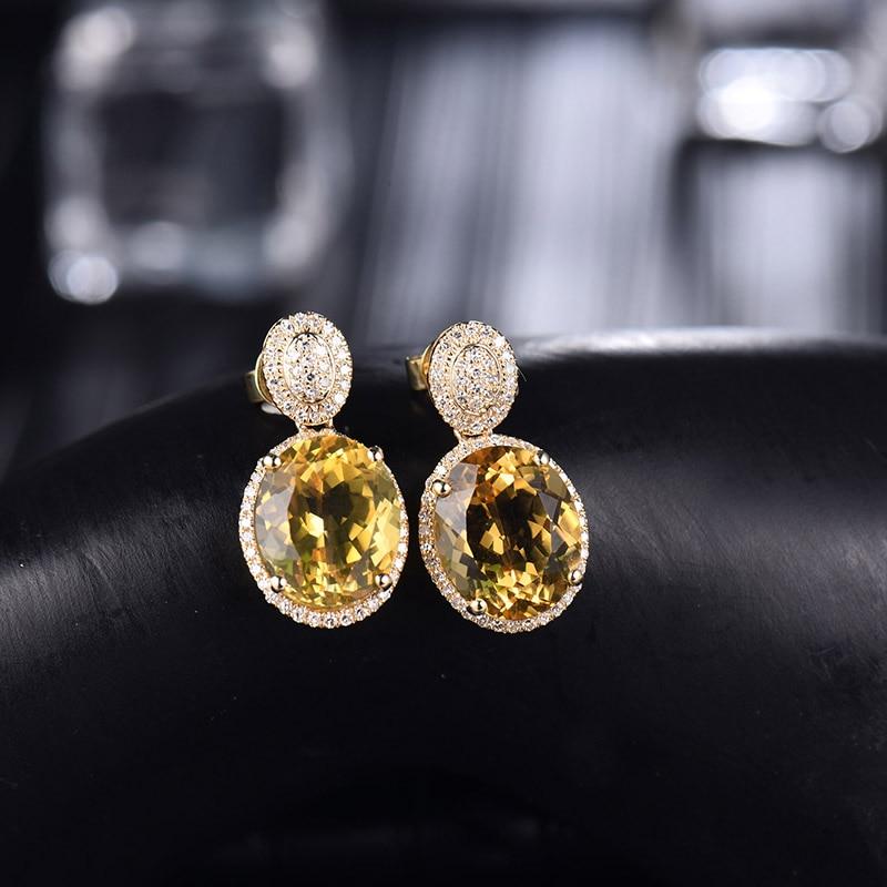 Takı ve Aksesuarları'ten Küpeler'de Loverjewelry Küpe Kadınlar Için Trendy Citrine Sonrası Küpe Doğal Elmas Katı 14Kt Sarı Altın Oval 10x12mm Citrine taş'da  Grup 3