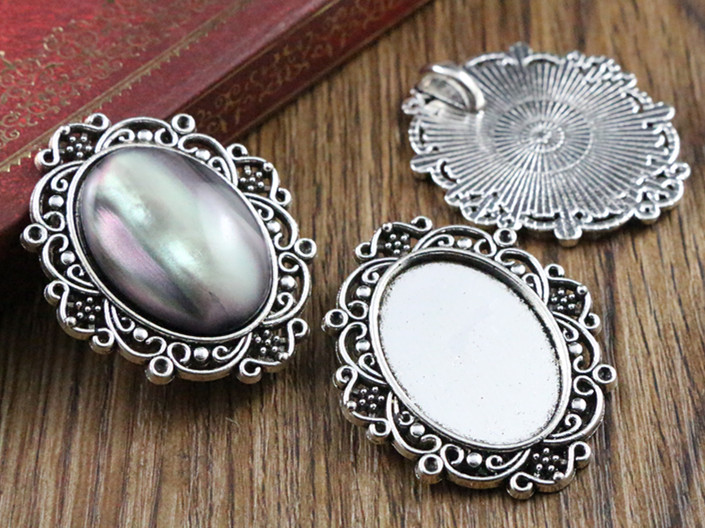 4pcs 18x25mm Inner Size Antique Silver Classic Style Cameo Cabochon Base Setting Charms Pendant necklace findings (C1-20) 3pcs 18x25mm inner size antique silver brooch pin classic style cameo cabochon base setting c2 30