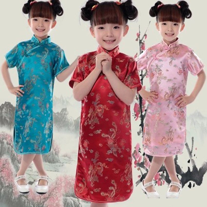 Girl Cheongsams Dress Chinese Traditional Costumes Dragon&Phoenix Tang Suit Embroidery Tight Bodycon Baby Girls Kimono Dress girl