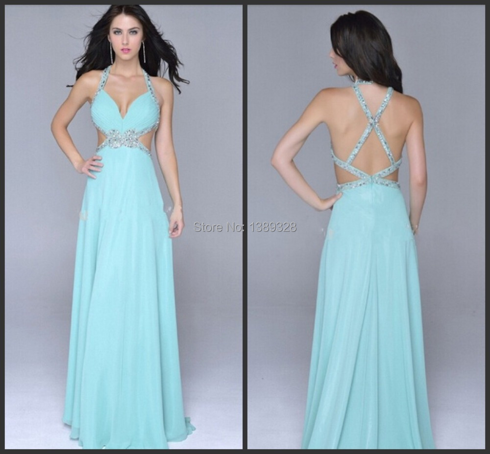 Fashion Design Elegant Spaghetti Strap Beading Light Blue Prom ...