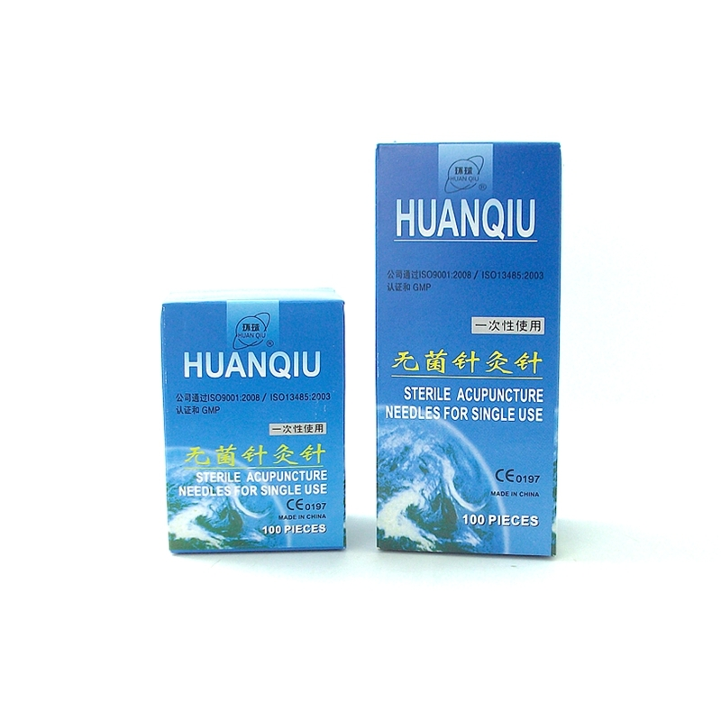 5 boxes huanqiu disposable sterile acupuncture tube with ring needle 100pcs/box 100 pcs eacu high quality disposable aucpuncture edge needle with tube aluminum handle knife needle painless massage needle