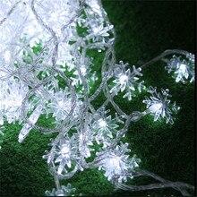 4 м 20 светодиодов Рождественская елка снежные хлопья светодиодная гирлянда Сказочный светильник рождественские вечерние гирлянды для дома, свадьбы, сада рождественские украшения