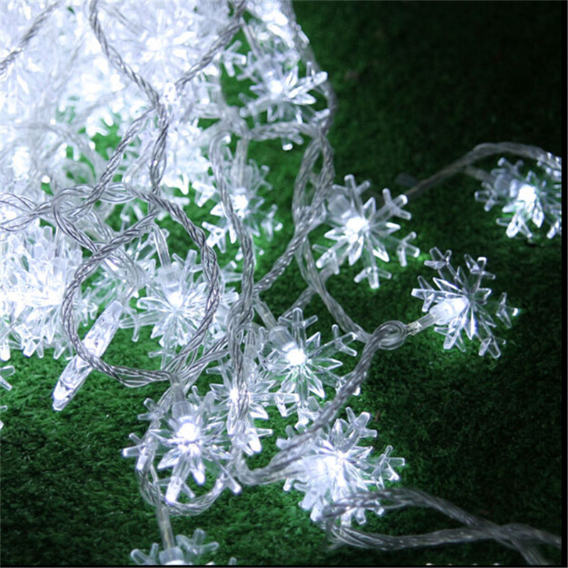 کریسمس 4M 20Leds Snow Snow Flakes Led String Fairy Light Xmas Party Home Wedding Garden Garland Garland تزئینات کریسمس