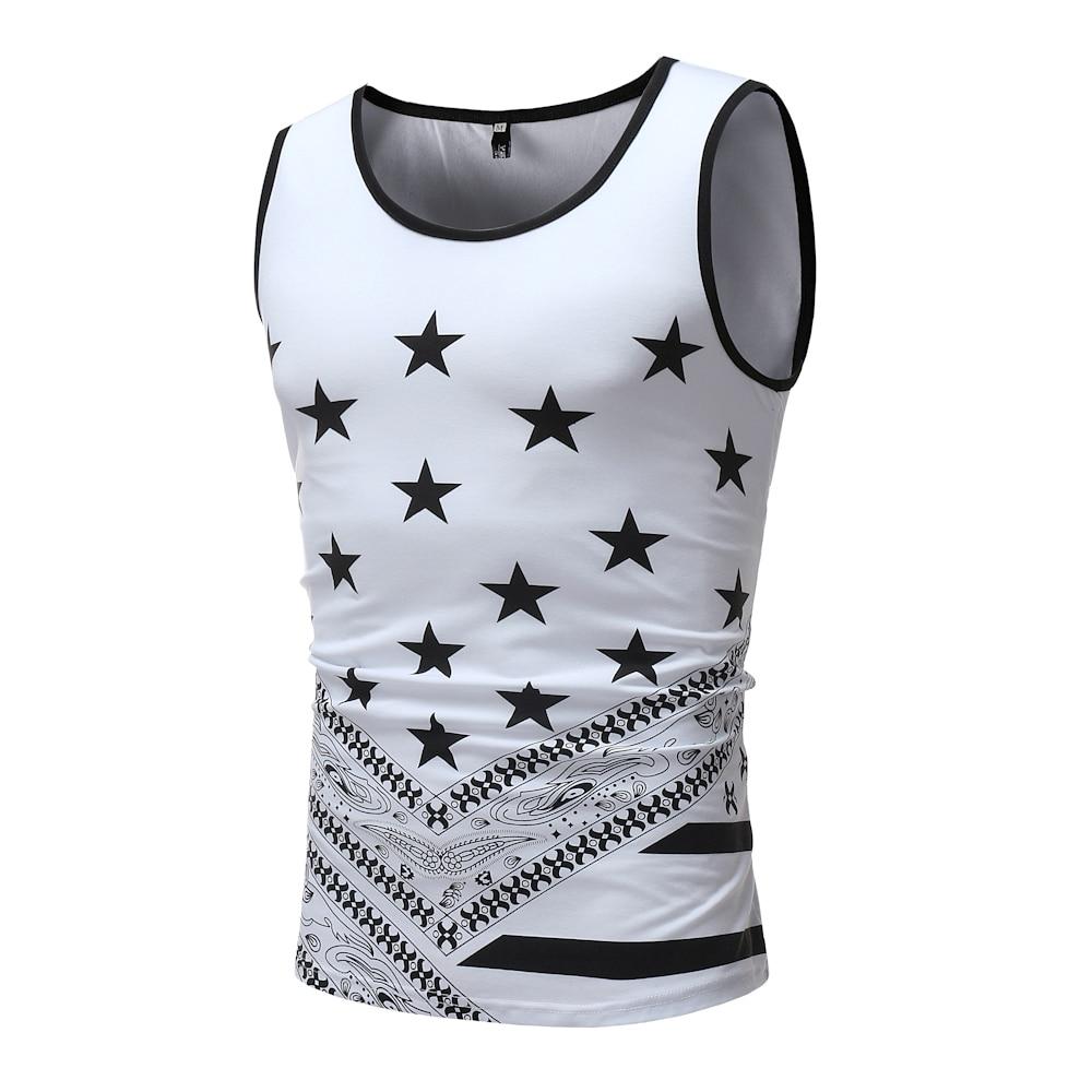 Phertiful 2018 Simple Creative Design Line Cross Print Cotton T Shirts Men'sStar New Arrival Summer Style Sleeveless Men t-shirt