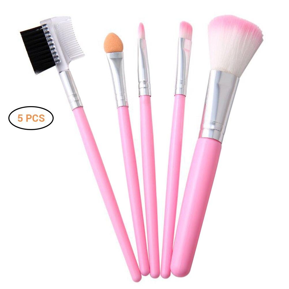 5pcs Professional Makeup Brushes Kit Set Powder Eyeshadow Eyelash Cheek Brush Set Cosmetic Tool Pink Handle Make up Brush