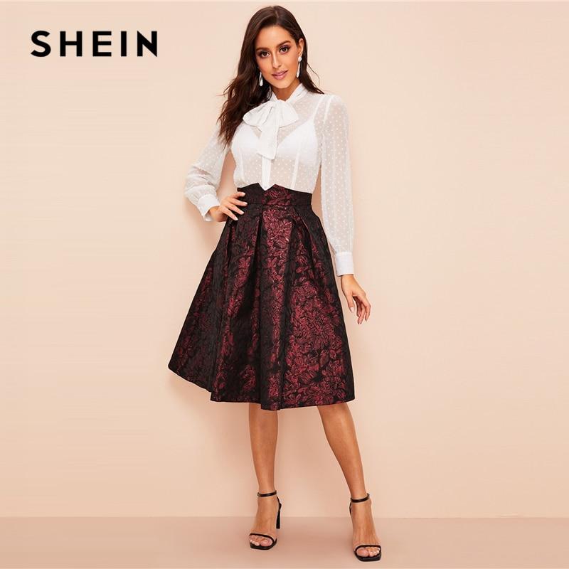 Image 5 - SHEIN Vintage Gold Flower Print Mid Waist Flare Knee Length Skirt 2018 Autumn Elegant Modern Lady Women Skirts-in Skirts from Women's Clothing