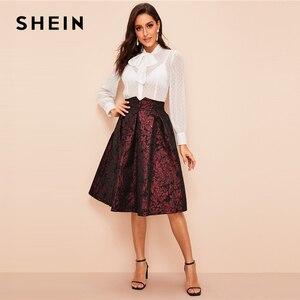 Image 5 - SHEIN Vintage Gold Flower Print Mid Waist Flare Knee Length Skirt 2018 Autumn Elegant Modern Lady Women Skirts