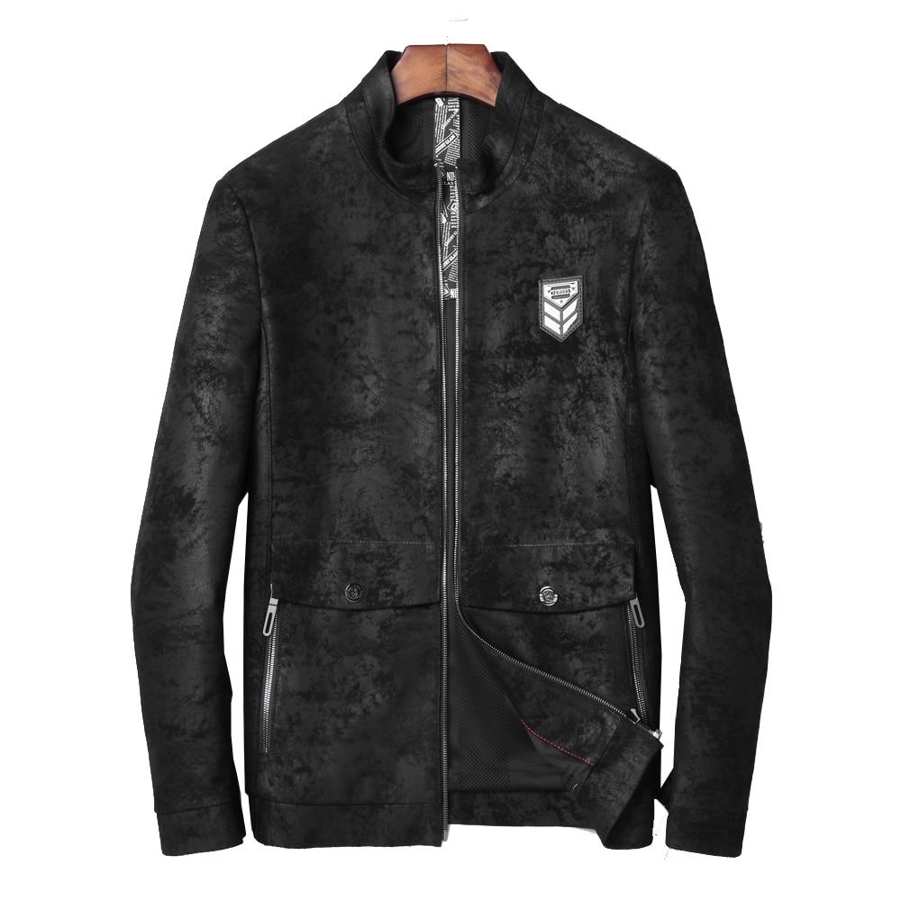 100% Echtem Leder Männlichen Jacke Echt Schaffell Echtes Leder Outwear Stehkragen Regelmäßige Junge Männer Leder Jacke 4xl