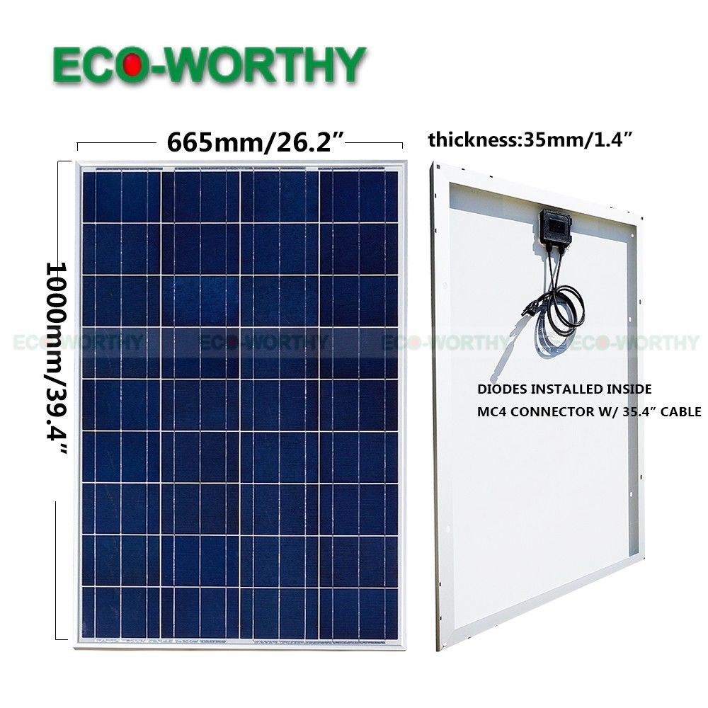 100W 18V Polycrystalline Solar Panel for 12v Battery off Grid System Solar for Home System micro inverters on grid tie with mppt function 600w home solar system dc22 50v input to ac output for countries standard use
