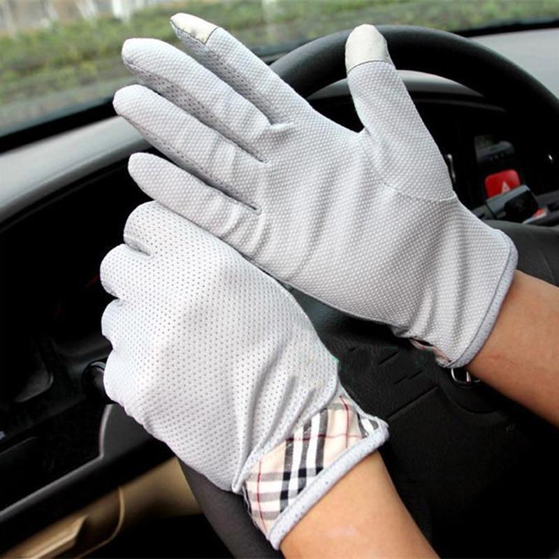 Men's Summer Outdoor Sports Fitness Cycling Sunscreen Short Sun Gloves Thin Cotton Full Finger Touch Screen Driving Gloves B94