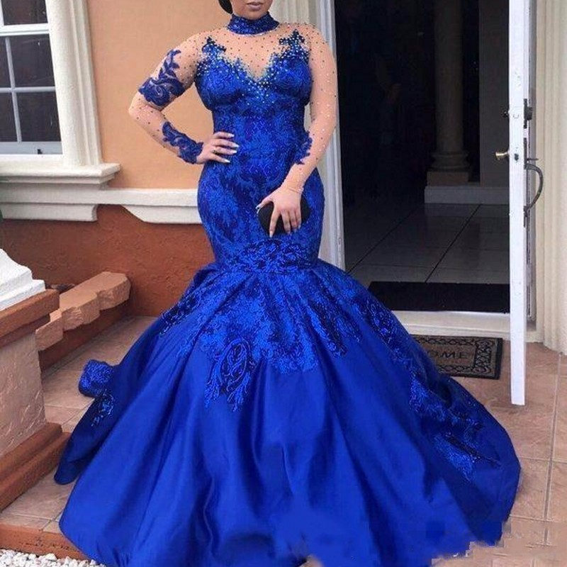 abiye Royal Blue Evening Dresses High Neck Long Sleeves Lace Appliques Evening Gowns Plus Size Satin