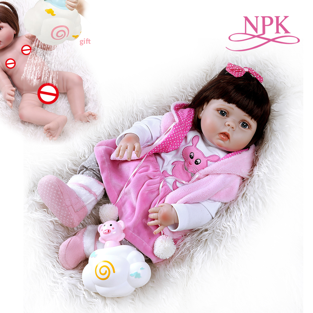 56CM reborn toddler baby girl doll full body soft silicone in pink dress sweet bebe doll reborn Bath toy Anatomically Correct