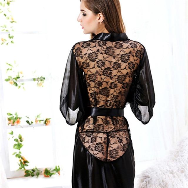 Satin Lace Black Kimono
