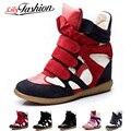 2016 Моды Платформа Клин ботинки Женщин Высота Увеличение Обувь Из Мягкой Кожи Высокие Верхние вскользь Ботинок ASP64