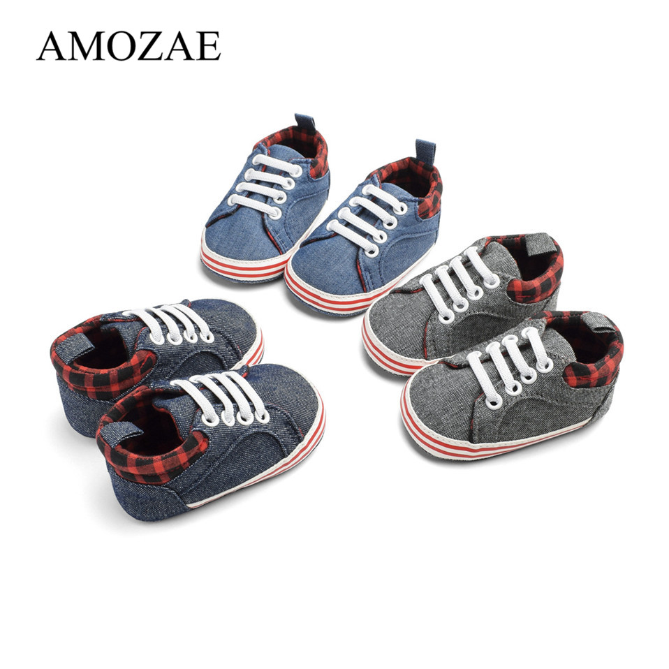 2 Pairs/Set New Baby Shoes For Newborn Denim With Striped Baby Boy Casual Prewalker Infant Toddler For 0-18 Month Kids Sneaker