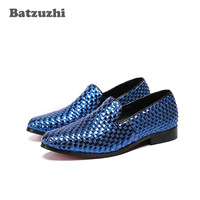 Batzuzhi Luxury Italian Loafers Shoes Men Blue Wave Genuine Leather Men Party Shoes Erkek Ayakkabi Wedding Men, Big Size US12