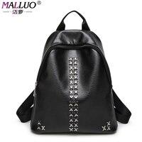 MALLUO Backpacks High Quality PU Leather Women Bags Luxury Handbags Women Bag Designer Rivet Back Pack